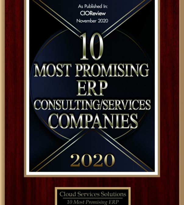 CIO Review named Cloud Services Solutions as one of the top 10 promising ERP Consulting/Services  Companies for 2019